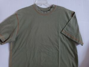 Orvis Mens Army Green Crew Neck Cotton Short Sleeve ~ Size Large~ Free S&H