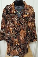 Requirements Womens Paisley Animal Button Down Shirt Top Blouse Size 1X