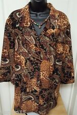 Requirements Womens Plus Multi Color Paisley/Animal Button Down Shirt Top Sz 1X