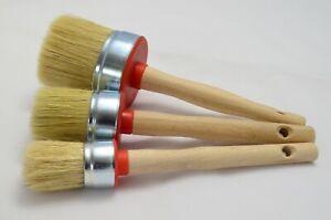 70 45 35 Paint Brush Set 3 Shabby Chic Chalk Paint Pure Bristle Round Brush, Wax