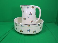 URBACH-FRERES FLORA 452 LARGE PITCHER AND BASIN CZECHOSLOVAKIA