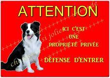 plaque chien de garde border collie en métal 29 X 19 cm percée aux angles réf 49