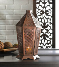 Far East Middle East Iron Pewter Lantern Candle Holder Indoor Tabletop Hanging