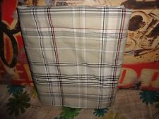 NAUTICA PLAID KHAKI BLACK RED QUEEN FLAT SHEET BOYS COTTON 86 X 96