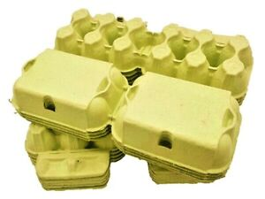 50 - 250  X NEW HALF DOZEN FLAT TOP EGG BOXES IN YELLOW FOR MEDIUM TO LARGE EGGS