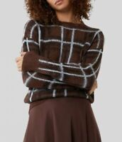 Ex Warehouse Womens Ladies Brown Brushed Checked Design Cosy Soft Knit Jumper