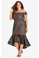 City Chic Size M Envie Dress Lined w Black Lace Mermaid Silhouette Cocktail