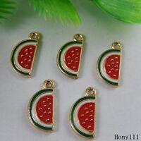30x Multi Color Tone Alloy Enamel Watermelon Pendants Craft Charms Jewelry 50999