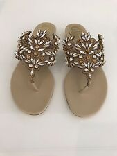 RENE CAOVILLA GORGEOUS BEIGE KARUNG CRYSTAL STONE SANDAL SHOES C8266 SIZE 8 NEW!