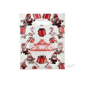"Santa Plastic Carrier Bags 15""x18""+3"" Merry Christmas Celebration Pack of 100"