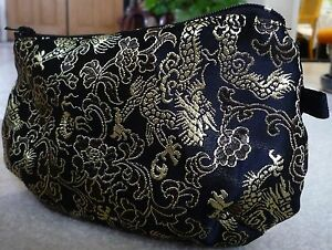 Asian Inspired Black Gold Dragon Brocade Cosmetic / Makeup Pouch Bag w/ Zippers