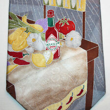 NEW Tabasco Silk Neck Tie Gray and Black with Tabasco Bottle & Table Food 924