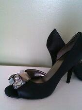 Nine West Womens Shoes Peep-Toe Evening Pumps Black Satin Size 8.5M