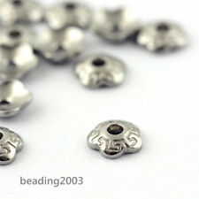 500pcs 5-Petal Flower Jewelry Findings Bead Caps Cone 4mm 304 Stainless Steel