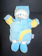 doudou marionnette chat turquoise bleu Noé DOUDOU ET COMPAGNIE