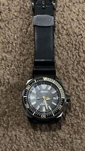 Seiko Samurai Padi Prospex SRPB55 Watch Gunmetal Back Gold 45mm Rubber Automatic