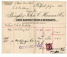 3 Vintage headed Invoices, John C Hanna & Co. Linen Manufact - Belfast 1898-1900