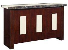 High Gloss Marble sideboard new Genuine Marble Top Dark wood finish 141cm