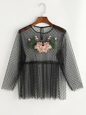 Woman Black Embroidered Applique Buttoned Keyhole Dot Mesh Tulle Top -Au Seller