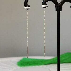 Solid 925 Sterling Silver Bar Chain Pull Through Threader Earrings