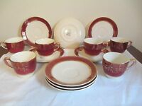DEMI CUP & SAUCERS Service for 6!  Aristocrat by Salem China Co!  23 karat gold!