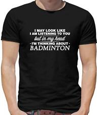 In My Head I'M Badminton Mens T-Shirt - Sports - Game - Team - Player - Racket