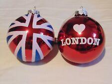 London Christmas Souvenir Union Jack 2 Baubles – Glass & Glitter – Used