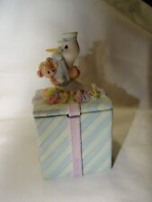 "Enesco Precious Moments ""Joy On Arrival"" Baby Trinket Box 1999"