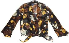 HARARI Women's 100% Silk Chiffon Tie-Waist Button Top/Blouse Black Floral Sz 6