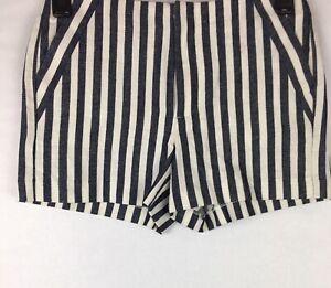 New $50 Banana Republic Women's Size 4 Petite Shorts Striped Linen Blend