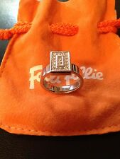 Folli Follie stainless steel silver ring, with Swarovski stones, size 8