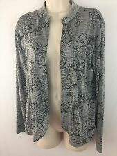 CHICO'S Travelers Cardigan size 1 open front Long sleeve gray/black jacket