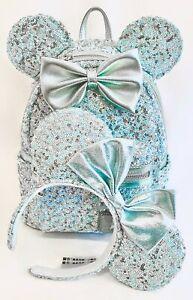 Loungefly Disney Parks Arendelle Aqua Mini Backpack Bag Frozen Blue Sequin Mouse