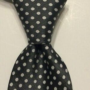 CHARLES TYRWHITT Men's 100% Silk Necktie Designer POLKA DOT Gray/White EUC