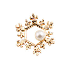 Gold tone snowflake brooch / pin with pearl