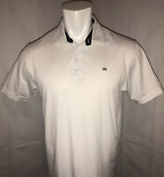 Travis Mathew Mens Large Athletic Fit Golf Polo Shirt Solid White Short Sleeve