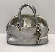 Vintage Versace Satchel Leather  Bag Monogram Silver