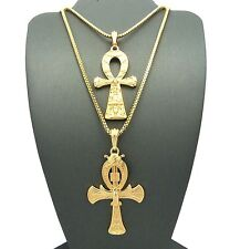 Hip Hop Ankh Egyptian Cross of Life Pendant w/ Box Chain 2 Necklace Set $RC858
