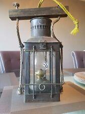 Antique Neptune NR brass kerosene oil lantern - original chimney & glass panels
