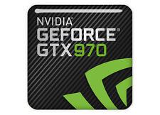 "nVidia GeForce GTX 970 1""x1"" Chrome Domed Case Badge / Sticker Logo"