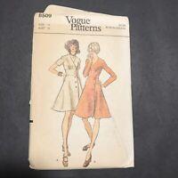 Vintage Vogue Sewing Pattern 8509 Size 14 Fitted Dress V-Neck Long Short Sleeves