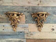 STUNNING PAIR OF ORNATE GILDED ROCOCO BAROQUE PLASTER WORK VINTAGE WALL SHELVES
