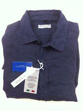 Via Leopardi 10 Italy Leinen Hemd Gr. L dunkelblau Kentkragen, edel!!