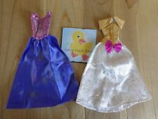 Barbie Doll Clothing Lot 2 GOWNS DRESSES Purple Gold White Metallic