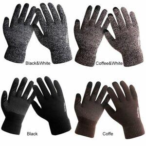 Men Women Knitted Gloves Touch Screen Winter Warm Fleece Lined Thermal Glove