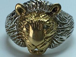 9 Ct Gold Diamond set Lion Head Ring size Y.5