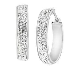 Crystaluxe Aro Pendientes Con Cristales Swarovski Blanco en Plata de ley
