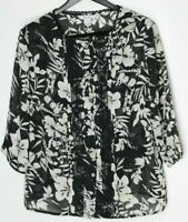 TAN JAY Women's 3/4-Sleeve Button-Down Top Black Ivory Floral Sheer Size 16