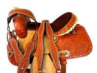 15 16 WESTERN SADDLE BARREL RACING HORSE TRAIL PLEASURE FLORAL TOOLED TACK SET