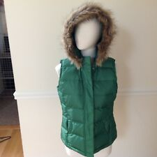 Talbots Women's Down Puffer Fur Hooded Outdoor Vest Size S
